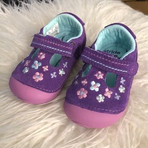 Stride Rite Purple Floral Embroidery Baby Shoes